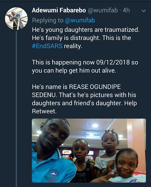 This young father has been in detention since Wednesday after SARS picked him up when he stepped out at night to buy water