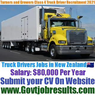 Turners and Growers Class 4 Truck Driver Recruitment 2021-22