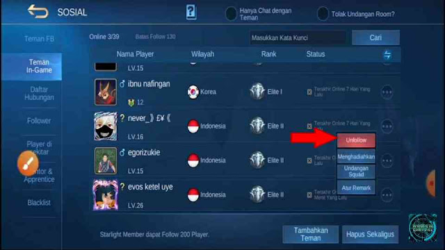 cara hapus teman di mobile legends, cara menghapus followers di ML, unfollow teman di ML