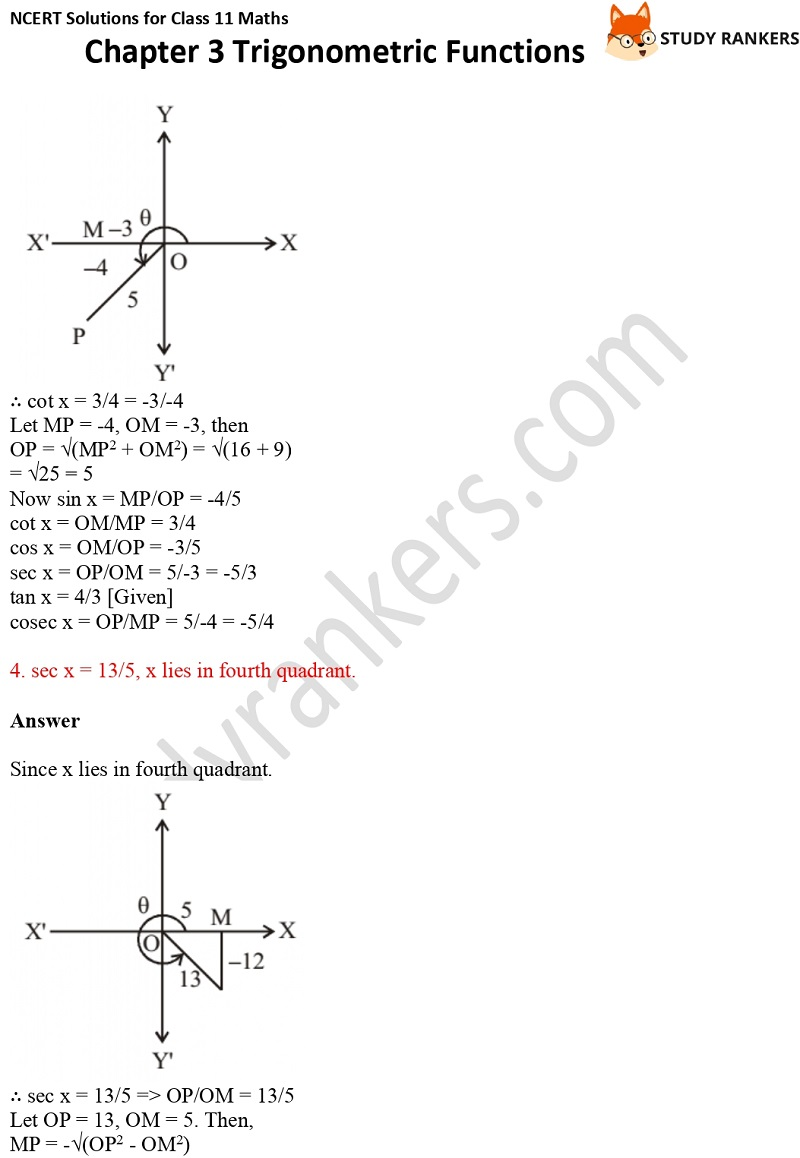 NCERT Solutions for Class 11 Maths Chapter 3 Trigonometric Functions 5