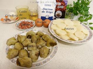 ingredientes alcachofas y patatas a la importancia