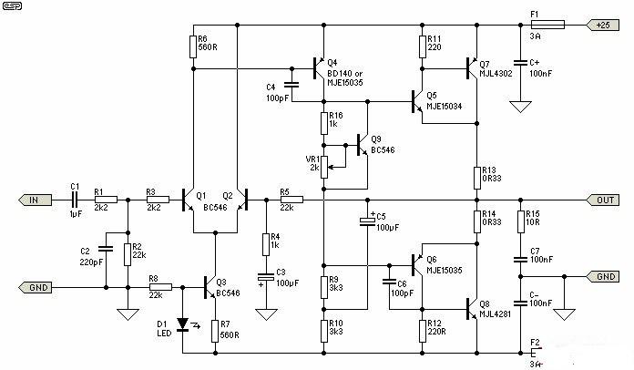 Build A 25w Class A Power Audio Amplifier Circuit Diagram