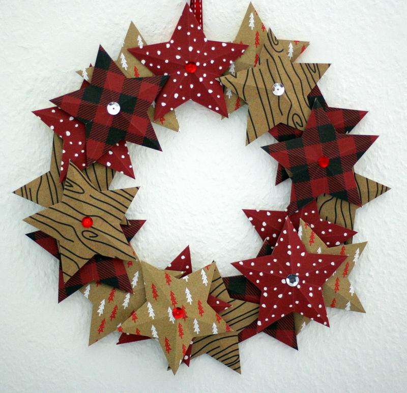 cathis scrapblog weihnachtskranz origami stern. Black Bedroom Furniture Sets. Home Design Ideas