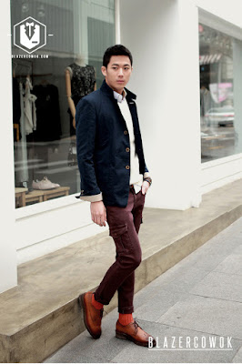 blazer cowok blazercowok.com jaket korean jas pria sk42 blue d