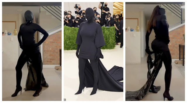 Social media users praise woman who hilariously recreated Kim Kardashian met gala outfit (Video)