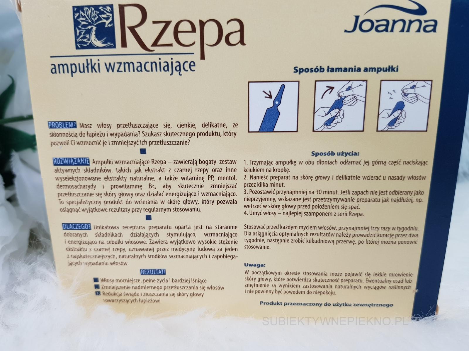 Wzmacniające ampułki do włosów Rzepa Joanna. Działanie, opinie, blog.
