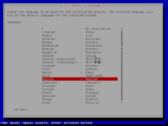 pilihan bahasa instalasi debian 9.6
