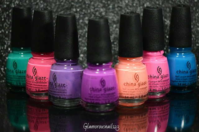 China Glaze Keepin' It Real, Hang-Ten Toes, Spontaneous, Are You Jelly?, Flip Flop Fantasy, Peonies & Park Ave, Isle See You Later