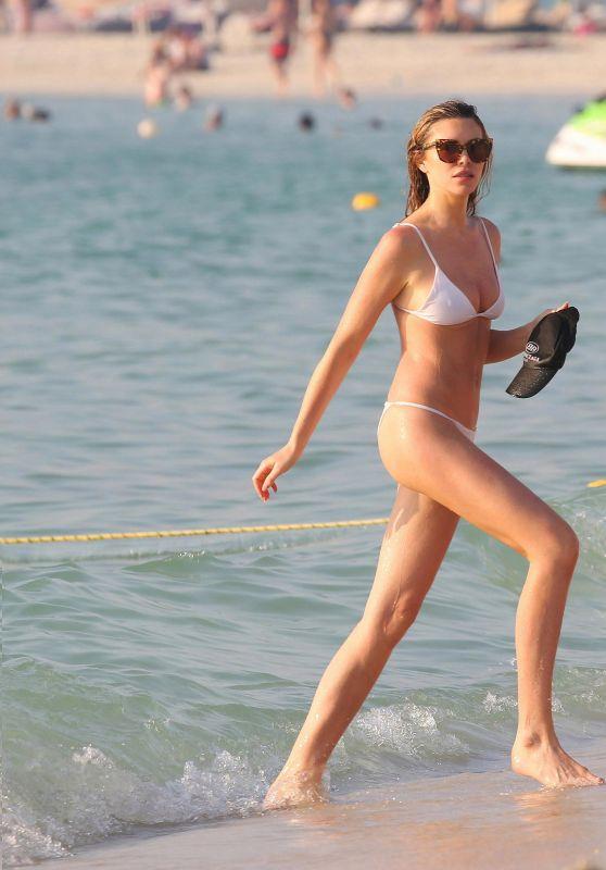 Abbey Clancy in White Bikini Le Royal Meridien Beach Resort in Dubai