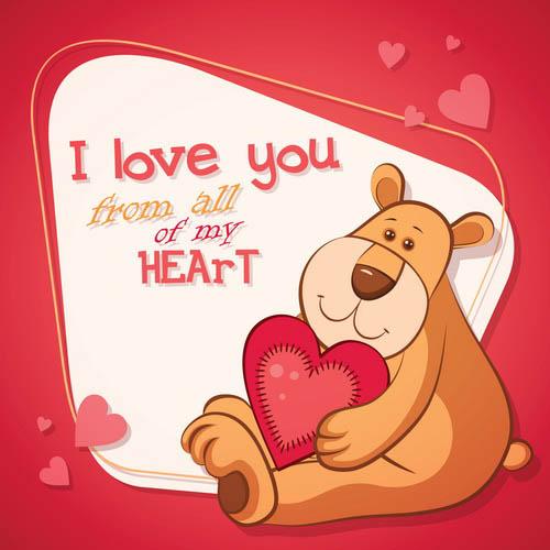 Valentine's Day cartoon bear free vector material