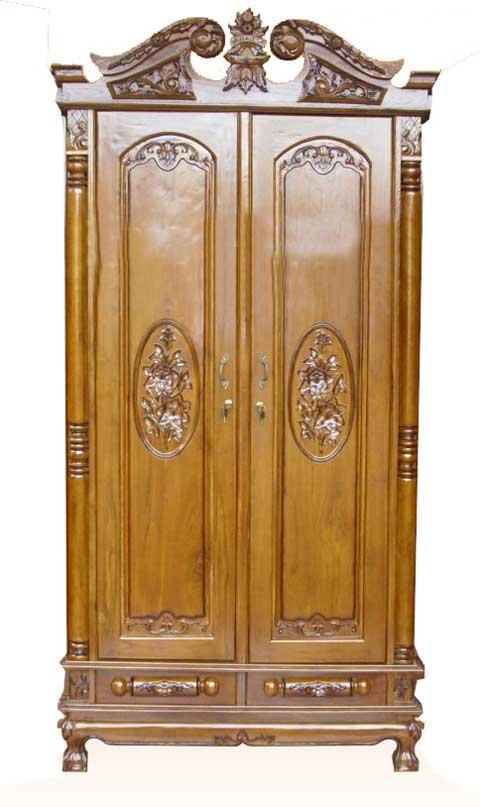 lemari pakaian 2 pintu ukir