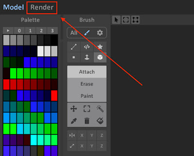 Enable Render Mode in MagicaVoxel