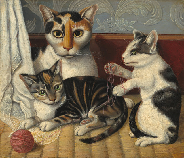 A 19th century portrait of a calico cat and her two kittens