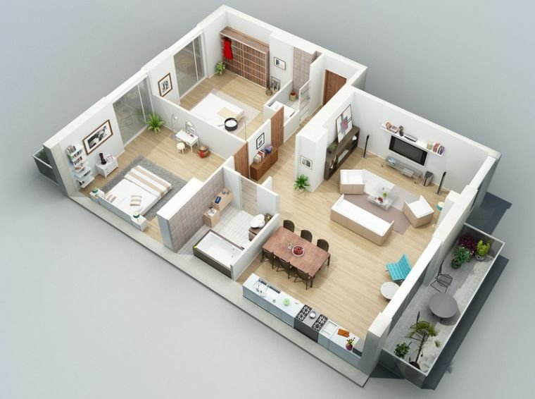 Custom Stylish Modern House 3D Floor Plans - Architecture & Design