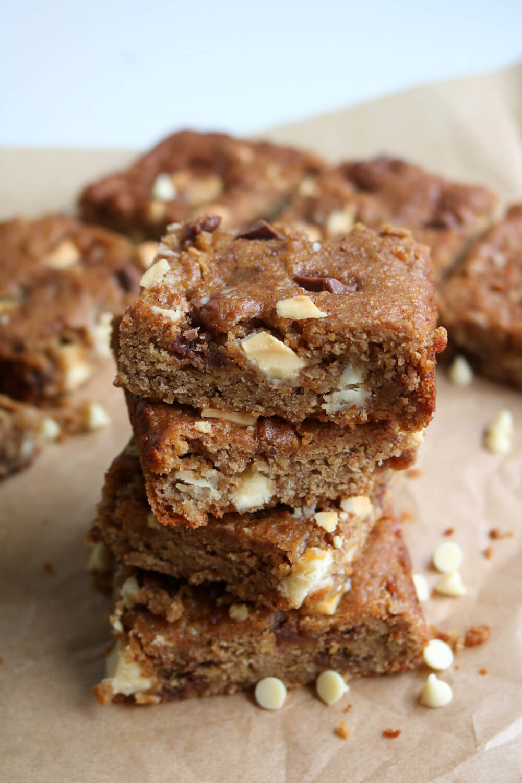 Chocolate Chunk Chickpea Blondies - Gluten Free & Vegan - Hungry Little Bear