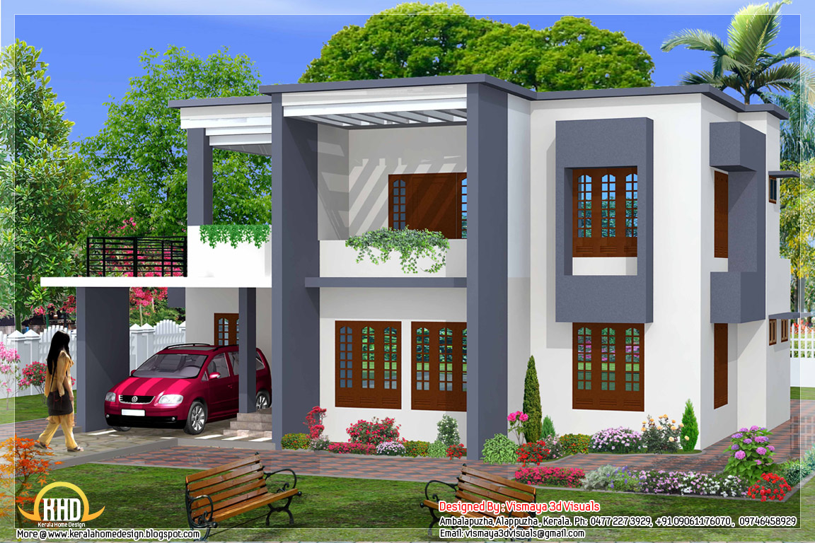 Simple 4 bedroom flat roof house design 2329 sq ft for Simple kerala home designs