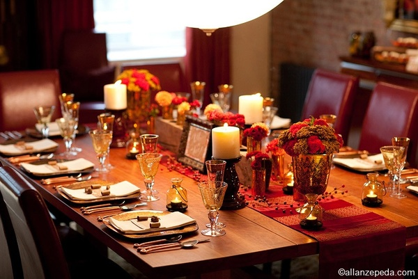 Cheap Fall Wedding Table Setting Reception Decoration