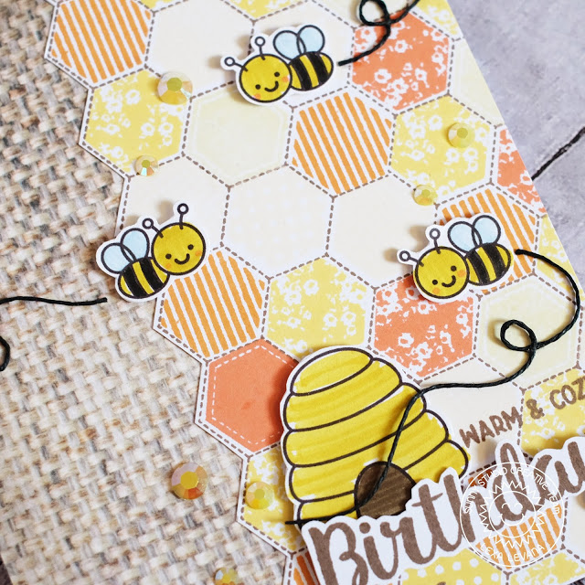 Sunny Studio Stamps: Just Bee-cause Quilted Hexagons Bee Themed Birthday Card by Lexa Levana