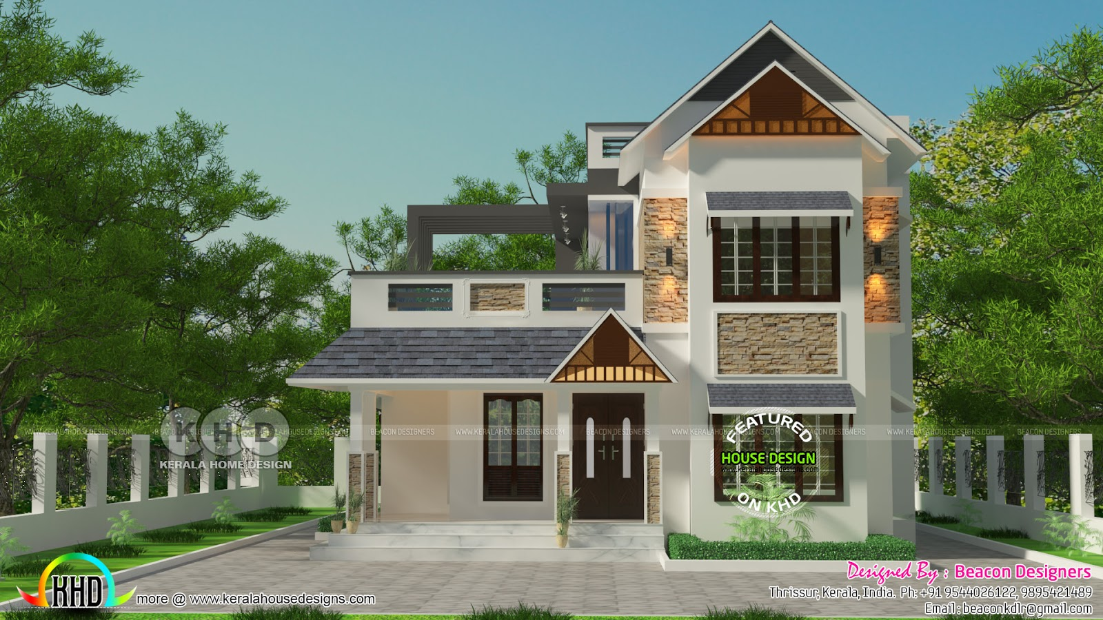 Mixed Roof 3 Bedroom 1714 Sq Ft House Kerala Home Design And Floor Plans