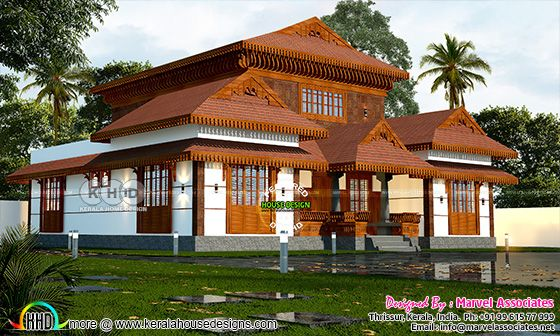 Traditional Kerala house rendered