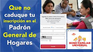 Consulta si estas en el Padron de Hogares Bono Universal RENIEC validó a los beneficiarios