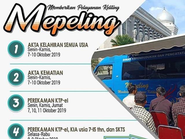 Jadwal dan Lokasi Mepeling Disdukcapil Kota Bandung 7 - 11 Oktober 2019