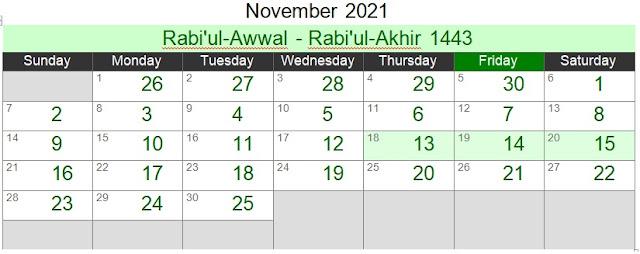 Islamic Hijri Calendar November 2021 (Rabi'ul-Awwal - Rabi'ul-Akhir 1443)