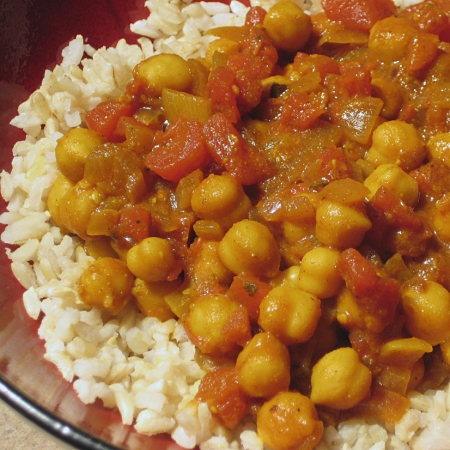 Chick Pea Curry over Rice