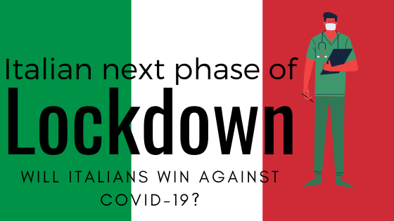 italian flag tricolore, a doctor, and question will Italy win against Covid-19?