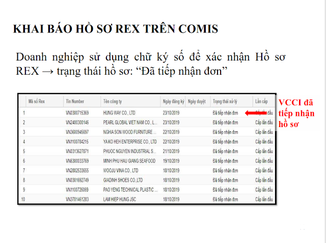 khai báo hồ sơ REX trên comis