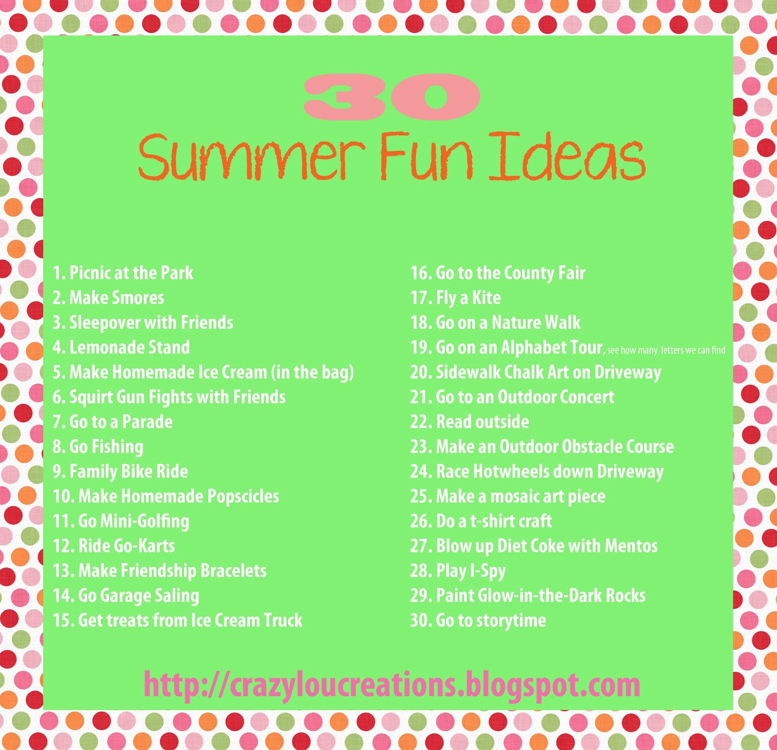 Amazing Summer: Crazylou: SUMMER FUN!! Ideas To Keep The Kids Busy