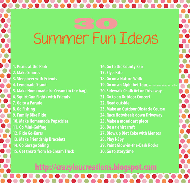 30 Summer Fun Ideas (free printable)