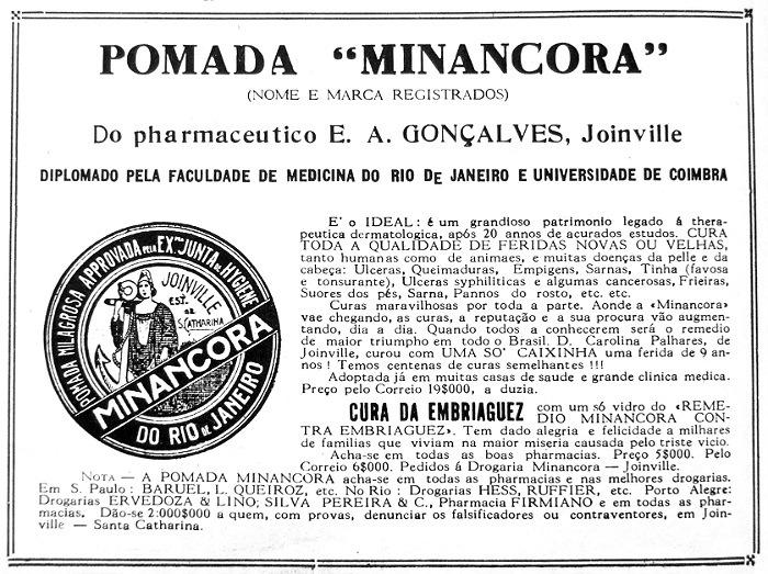 Propaganda antiga da pomada Minancora enaltecendo seus benefícios para cura de feridas e da embriaguez