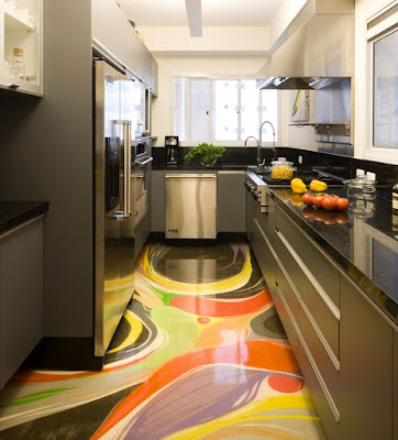 3D floors art with epoxy coating for kitchens