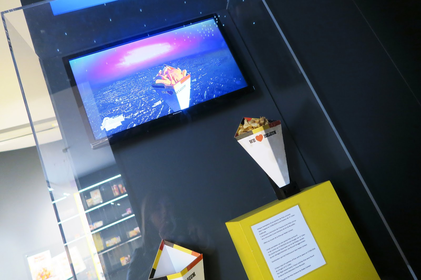 A cone of Belgian chips on display at the Frietmuseum.