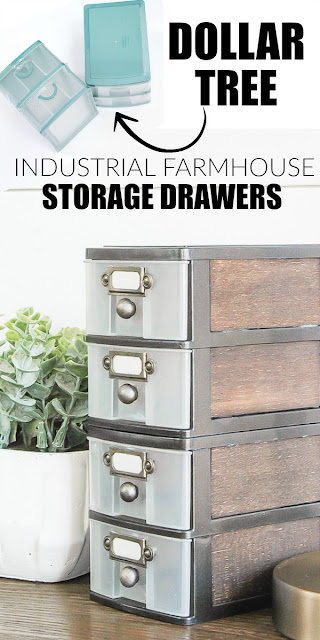 Dollar Tree organizers turned industrial farmhouse storage