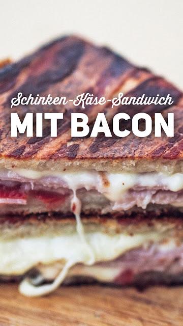 Pie-Iron | Sandwicheisen | Schinken-Käse-Sandwich mit Bacon