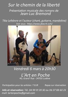 Concert à l'art en poche Lodève Présentation musicale des romans de Jean-Luc Bremond
