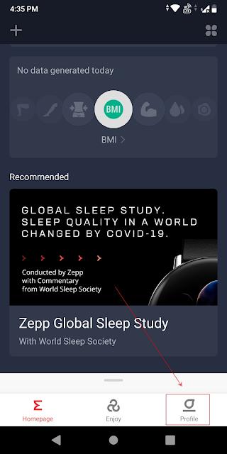 Zepp app highlighting the profile tab