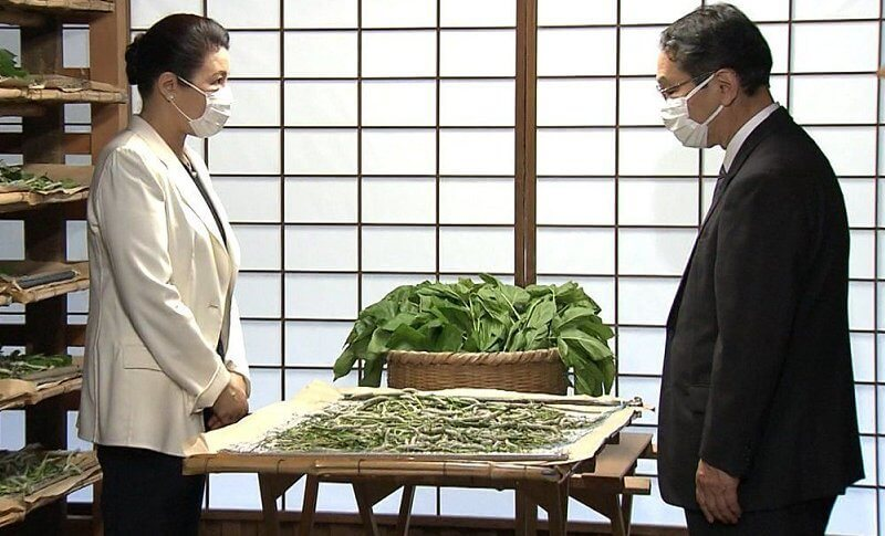 Empress Masako wore an ivory blazer and black pants to attend a sericulture ritual at the Imperial Palace in Tokyo