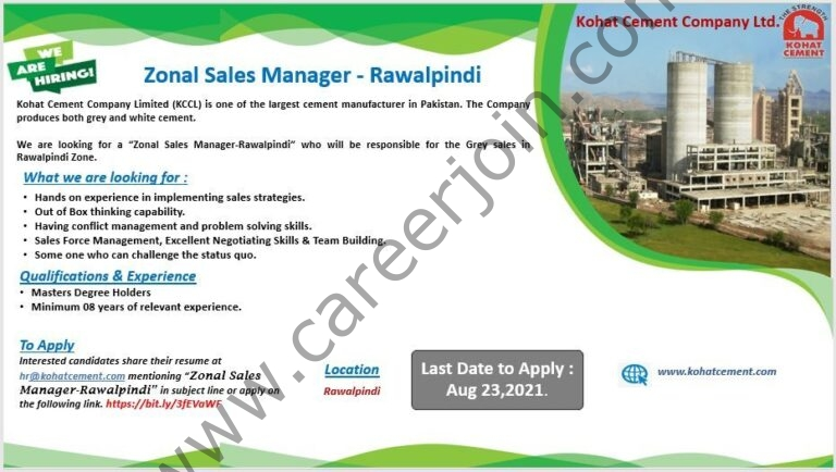 Kohat Cement Company Ltd Jobs Zonal Sales Manager