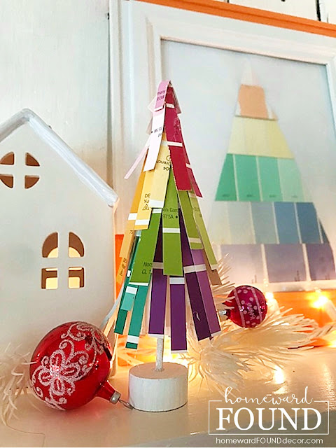art,boho style,Christmas,Christmas Decor,Christmas tree,color,colorful home,crafting,paper crafts,decorating,DIY,diy decorating,holiday,ornaments,re-purposing,winter,paper Christmas tree,paint chips,paint chip Christmas tree,Target,Target trees,Target Bullseye Playground,Christmas mantel decor,Christmas home decorating,home decor.
