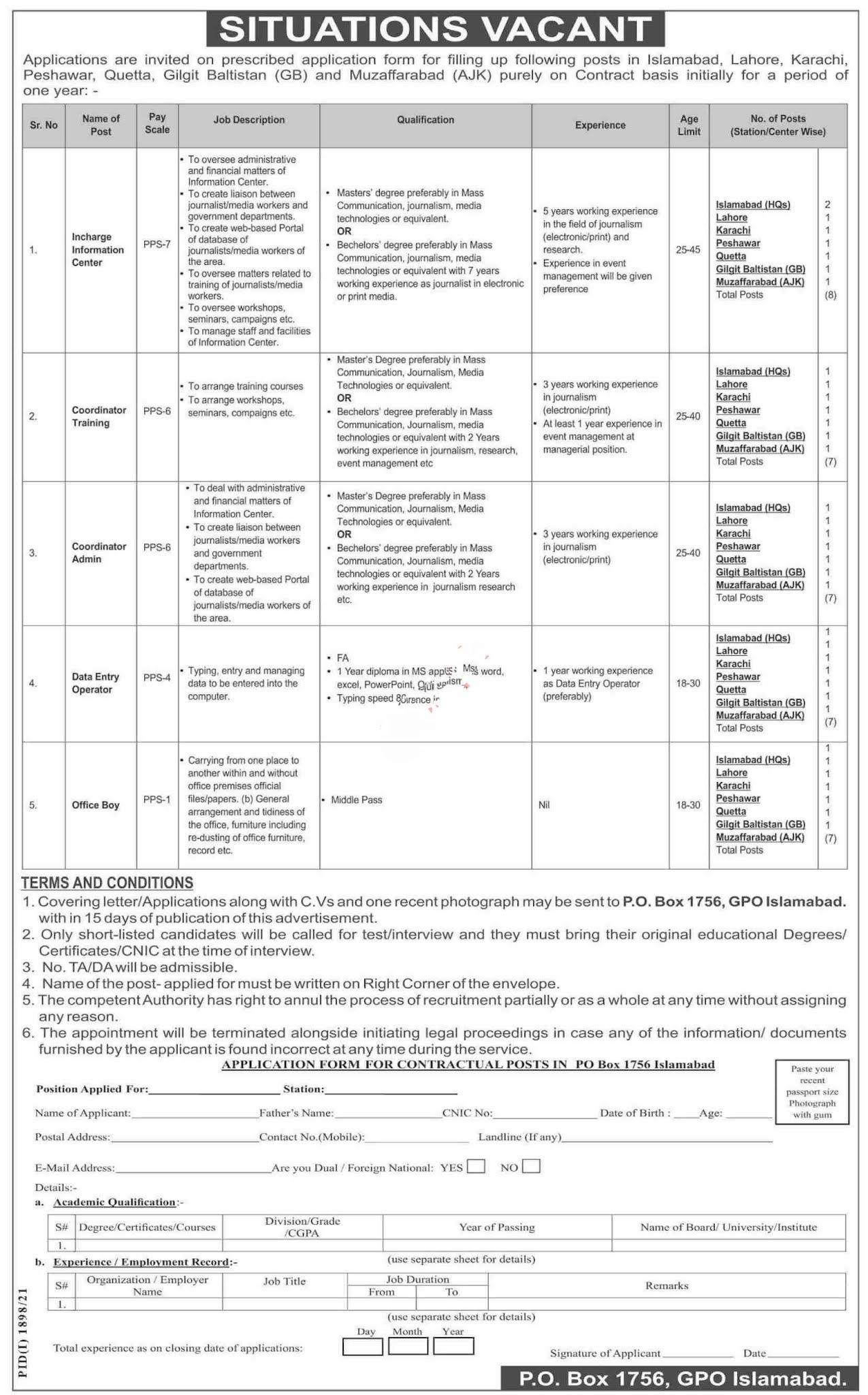 Latest Public Sector Organization Management Posts Islamabad 2021