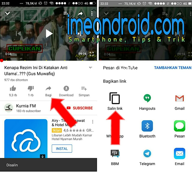 cara download video lewat youtube di android