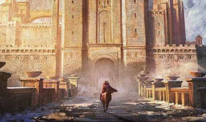 Imagem de capa: ilustração do pôster do filme, com uma figura encapuzada em um cavalo castanho atravessando uma ponte de pedra em direção a um enorme castelo de pedras claras iluminadas pelo sol.