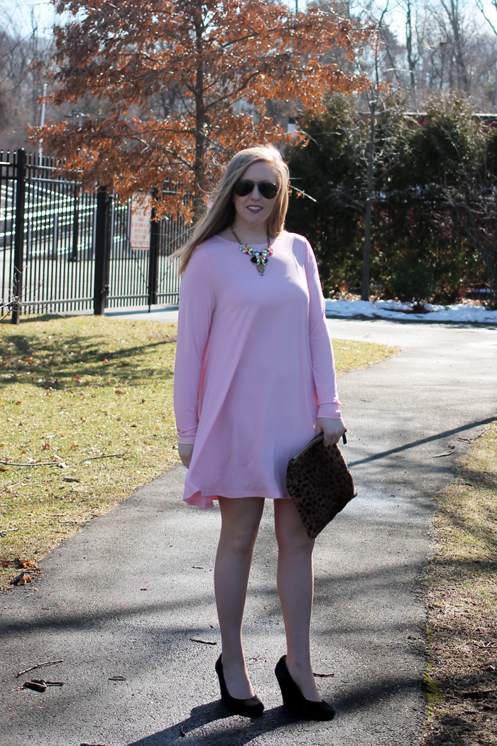 nordstrom glamorous shift dress, nordstrom savvy dress, nordstrom pink dress, pink shift dress, perfect pink dress, boston blogger, boston fashion blogger, boston style blog, style-blueprint blog, j.crew factory statement necklace, clare v. fold-over clutch, leopard clutch, leopard fold-over clutch