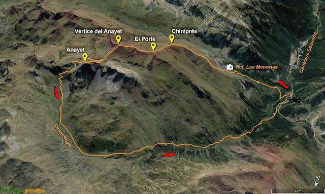 Mapa de la ruta señalizada al Pico Anayet
