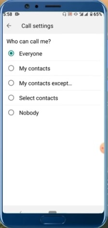 whatsapp call setting