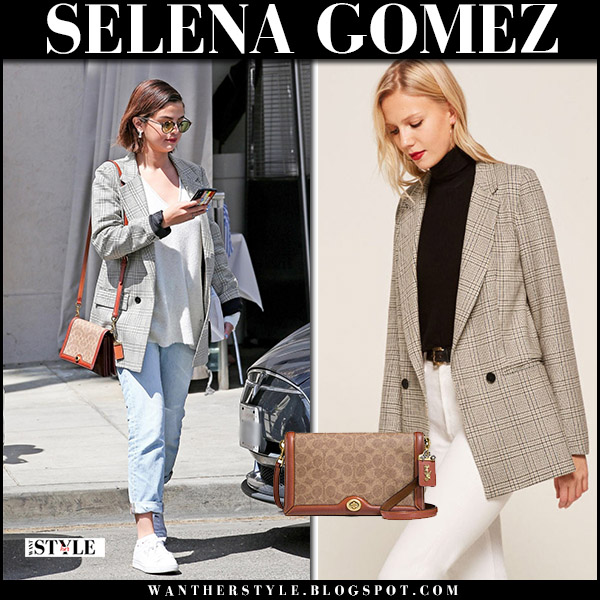 Selena Gomez in grey plaid blazer reformation, jeans and sneakers puma street style march 30