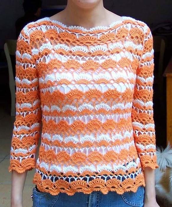 Blusa mangas tres cuartos al crochet